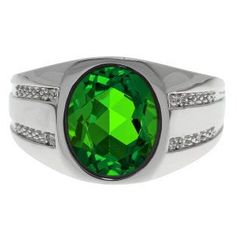 Oval-Cut Emerald and Diamond Men's Ring In White Gold Available Exclusively at Gemologica.com