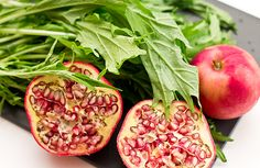 Mizuna Greens Salad with Pomegranate Seeds and Sliced Apple // wishfulchef.com