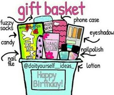 gift basket for ur bff or everyone u want {creds: doityourself_ideas_ on ig} More