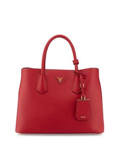 Saffiano Cuir Small Double Tote Bag, Red (Fuoco) by Prada at Neiman Marcus.