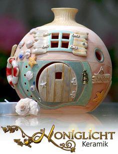 Strandhaus - Elfenkugel - Windlicht - Keramik von Honiglicht auf DaWanda.com