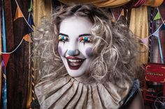 A Very Vintage Circus Beautiful photographic and creative makeovers by Bristol based hair and make-up artist The White Rabbit Circus Hair, Clown Hair, Clown Makeup, Halloween Makeup, Vintage Circus Costume, Vintage Clown, Circus Aesthetic, Halloween Circus, Halloween 2019