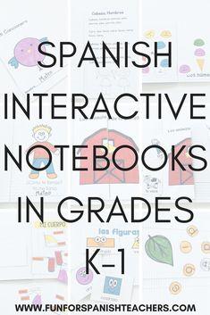 Spanish Interactive Notebooks in Grades - FunForSpanishTeachers - Juna Spanish Interactive Notebook, Interactive Student Notebooks, Interactive Learning, Spanish Lesson Plans, Spanish Lessons, Learn Spanish, Spanish English, Elementary Spanish, Spanish Classroom