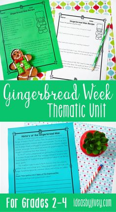 "Gingerbread is the perfect theme for a fun, seasonal unit without ""celebrating"" a holiday. This unit will be perfect for December or January and provides activities to last you for at least a week of gingerbread fun in reading, writing, grammar, science, social studies, math, and crafts, too! #gingerbreadman #gingerbread #secondgrade #thirdgrade #fourthgrade #mentortexts #childrensbooks"