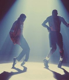 Michael Jackson and Michael Jordan on the set of the music video Jam, 1992.