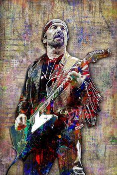 The Edge of Poster, Portrait Gift, The Edge Tribute Fine Art – McQDesign Fleetwood Mac, U2 Poster, Music Artwork, Art Music, Colorful Artwork, Guitar Art, Rock Art, Rock Music, Cool Bands