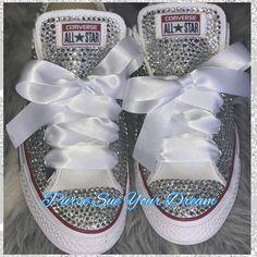 7722ee7631b1 Custom Bridal Swarovski Crystal Converse Wedding Shoes - Swarovski Crystal  Wedding Shoes - Swarovski
