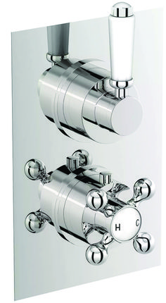 Concealed Traditional Thermostatic Twin Shower Mixer Two Way Valve