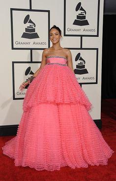 Rihanna in bubblegum pink Giambattista Valli Couture at the Grammys