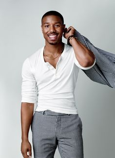 Michael B. Jordan showing off his sense of style with a deep white henley, checkered trousers and matching blazer. : Michael B. Jordan showing off his sense of style with a deep white henley, checkered trousers and matching blazer. Rave Shirts, Polo Shirts, Business Casual Men, Men Casual, Business Wear, Checkered Trousers, Traje Casual, Style Masculin, Look Man