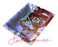 Funky Ashtray handpainted by SuzetteHuwae  Original Ceramics are in the SH webshop!