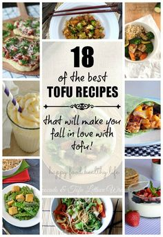 18 of the best Tofu Recipes (That will make you FALL IN LOVE with Tofu!) Anything from Dinners, to Snacks, to Dessert - all Delicious and made with Tofu! Best Tofu Recipes, Veggie Recipes, Vegetarian Recipes, Cooking Recipes, Healthy Recipes, Tofu Dishes, Vegan Dishes, Healthy Snacks, Healthy Eating