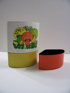 Vintage Set of 3 Mushroom Stackable Canisters by piratesb00ty, $14.00