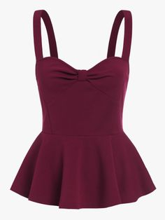 Knot Sweetheart Peplum Cami Top Cute Burgundy Women Sleeveless Slim Tops Casual Strap Ruffle Camisole Red S Cami Tops, Cami Crop Top, Peplum Tops, Style Casual, Casual Tops, Trendy Outfits, Fashion Outfits, Women's Fashion, Fashion Ideas
