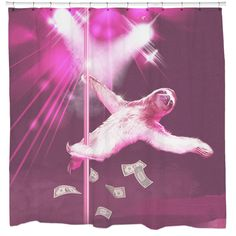Stripper Sloth Shower Curtain. I'm in love with a stripper...SLOTH! Dance to your favorite tunes alongside this Stripper Sloth shower curtain. Sloths DO move slowly like most of us in the morning. So don't worry, you'll be able to keep up with this sloth's dance routine!