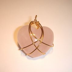 Kazuko Rose Quartz Crystal Wire Wrapped Heart Pendant by kkumquatt