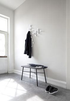 Meet bench, Menu A/S, Norm Architects, afteroom Coat hanger white - available Crioll design shop / studio Eindhoven Hallway Inspiration, Hallway Ideas, Entry Hallway, Entryway Ideas, Piano Bench, Bench Designs, Modern Bench, Coat Hanger, Scandinavian Design