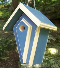 Bird House, Hanging Blue Wren House, Hand Crafted Birdhouse