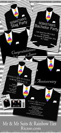 Mr & Mr Suits And Rainbow Ties .. gay wedding invitations .. cards .. US postage .. bachelor party invites .. Anniversary cards .. congratulations cards .. and more from #Ricaso