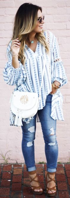 #spring #outfits / Blue Printed Blouse / Ripped Skinny Jeans / Brown Platform Sandals