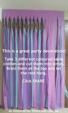 great party decoration or even backdrop decoration...braid it at different sections so the braids aren't all in a row to create a More diverse background