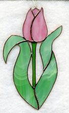 Handmade Stained Glass Flower,TULIP Pink SUNCATCHER (T039)