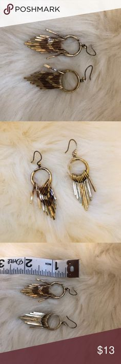 """Lucky Brand Earrings Lucky Brand drop earrings. Washed gold with tribal design. Measures about 2"""" as shown in picture. Excellent condition. Make an offer! Lucky Brand Jewelry Earrings"""