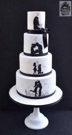 Sentimental Silhouettes - Cake by Karen Keaney Funny Wedding Cakes, Black Wedding Cakes, Wedding Cake Photos, Unique Wedding Cakes, Beautiful Wedding Cakes, Wedding Cake Designs, Fondant Cakes, Cupcake Cakes, Festa Rock Roll