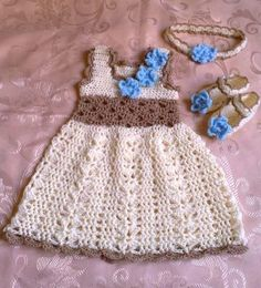 Baby Dress , Headband and Booties in Cream ,  Baby Clothes, baby frock, Infant Clothes, Crochet Baby Dress, take home clothes by ateszter for $55.00