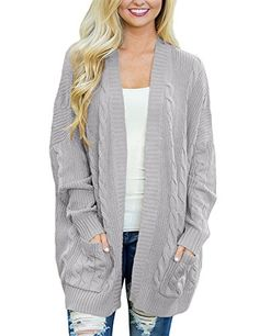 af62dca650b Dokotoo Womens Plus Size 2017 Regular Ladies Casual Fall Thick Long Sleeve  Open Front Long Cable Knit Cardigans Sweaters Pullover Outwear Coat Under  10 20 ...