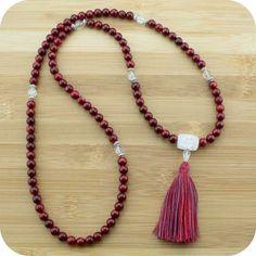 Red Bamboo Coral Meditation Mala Beads Necklace with Ice Quartz Crystal - Meditative Wisdom