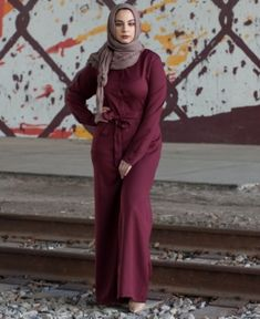 be55c3a51795 Verona Collection Wide Leg Modest Jumpsuit - Red L Verona Collection