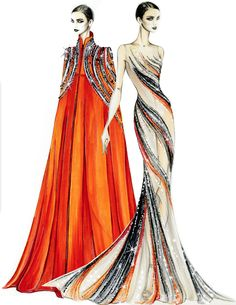 Fashion design Illustrations - Design & Illustration by Tani Bland & Susie Suh Otis Fashion Bob Mackie, Senior Class of 2015 Fashion Design Sketchbook, Fashion Design Portfolio, Fashion Design Drawings, Fashion Sketches, Moda Fashion, Fashion Art, Fashion Ideas, Paper Fashion, Fashion 2015