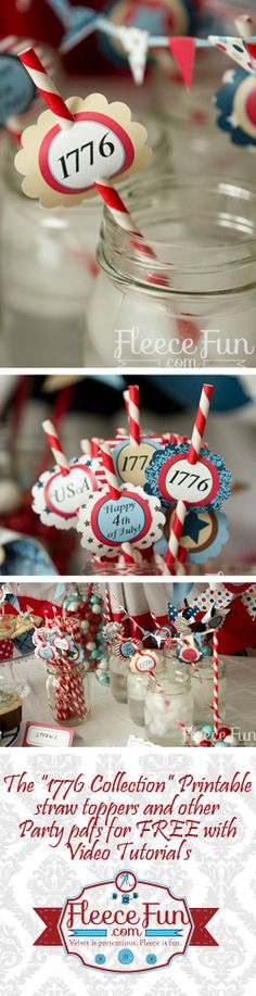 Patriotic straw toppers.  Fourth of July party printable free. 4th of July