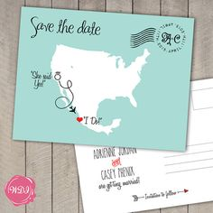 Destination Wedding Save the Date Postcard US & by WeDoInvites