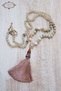 BLACK FRIDAY SALE - Silk Tassel Necklace, Boho Chic Necklace, Bohemian Necklace, Statement Necklace, Christmas Gift, Amazonite. A Unique , beautiful, hand knotted long Tassel Necklace . Features antique rhinestones, ivory - beige opalescent crystal beads , Amazonite and aquamarine