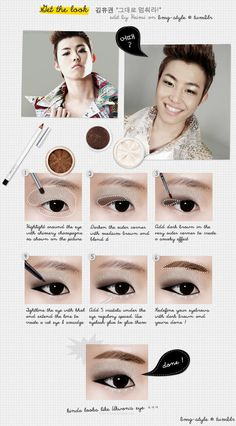 BLOCK B Ukwon eyemakeup tutorial #kpop #star #idol #ukwon #blockb #makeup #tutorial #eye #shadow #liner #monolid #korean #beauty #cosmetics