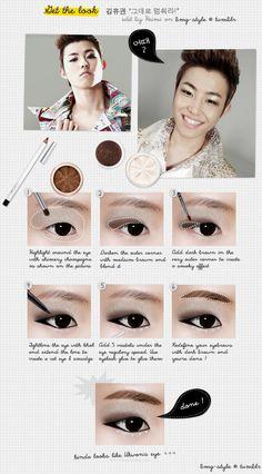 BLOCK B Ukwon eyemakeup tutorial #kpop #star #idol #ukwon #blockb #makeup #tutorial #eye #shadow #liner #monolid #korean #beauty #cosmetics