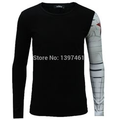Long Sleeve T- Shirt Iron Arm Captain America Costume The Winter Soldier Muscular Build