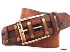 Gift for father Gold Brown Decorative Stud Leather Belt  by ISHAOR