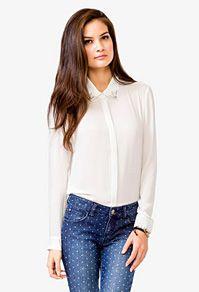 "rhinestoned collar chiffon shirt - now $10 {take an extra 50% off on all sale styles w/ code ""EXTRA50"" thru 12/2}"