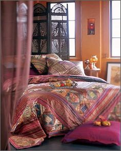 Bedding Like Restoration Hardware Bohemian Style Bedding, Bohemian Bedrooms, Home Interior, Interior Design, Indian Room, Indian Bedding, Moroccan Bedroom, Moroccan Interiors, Hotel Collection Bedding