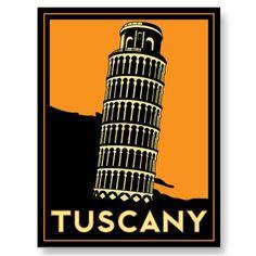Tuscany Italy retro art deco travel poster