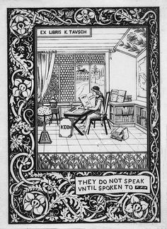 bookplate w antiquated thought