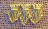 Varying the length of the buttonhole stitches and then gathering them creates this interesting look.