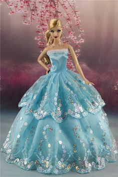 Fashion Princess Party Dress Sequin Wedding Clothes/Gown For Barbie Doll