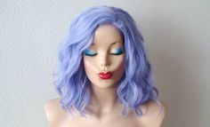 Pastel wig. Lavender blue wig.  Beach wave hairstyle wig. Short wig. Cosplay wig.