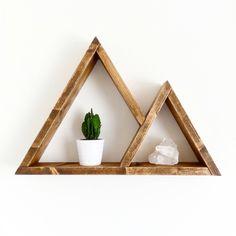 Mountain Shelf Triangle Shelf Plant Crystal Shelf Mountain Shelves on Home Shelves Ideas 2042 Plant Shelves, Wood Shelves, Shelving, Mountain Shelf, Crystal Shelves, Geometric Shelves, Solid Brick, Triangle Shelf, Water Based Stain