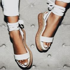 Cute white espadrilles.