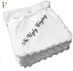Perfect Bridesmaid Gift No Ugly Crying Wedding Handkerchief Set of 9 - Bridesmaid gifts (*Amazon Partner-Link)